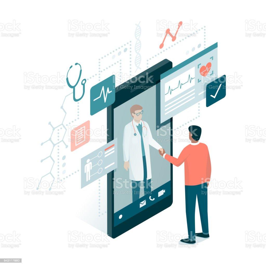 Online medical consultation vector art illustration