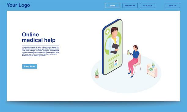 ilustraciones, imágenes clip art, dibujos animados e iconos de stock de página web de ayuda médica en línea - telehealth