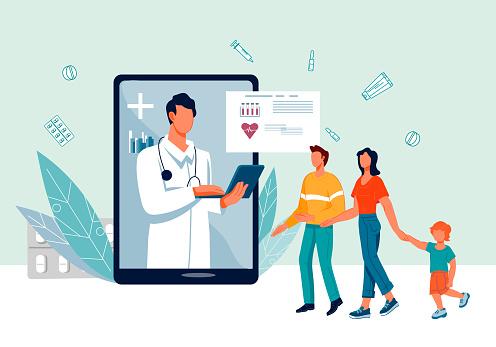 Online medical prescription and family doctor banner, flat vector illustration.