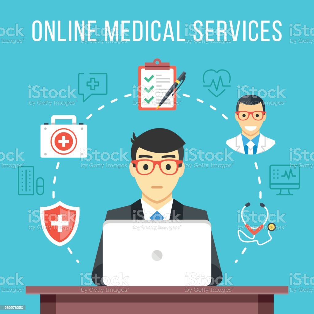 Online Medical Services Consultation Man At Computer Asking For Advice