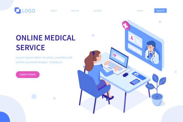 ilustrações de stock, clip art, desenhos animados e ícones de online medical - video call