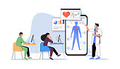 istock Online medical webinar and medicine courses: doctor teaching to academic students in the virtual class 1293499909