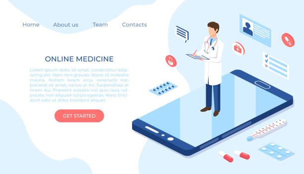 stockillustraties, clipart, cartoons en iconen met online geneeskunde gezondheidszorg isometrische illustratie. webontwerpvectorsjabloon. - doordrukstrip