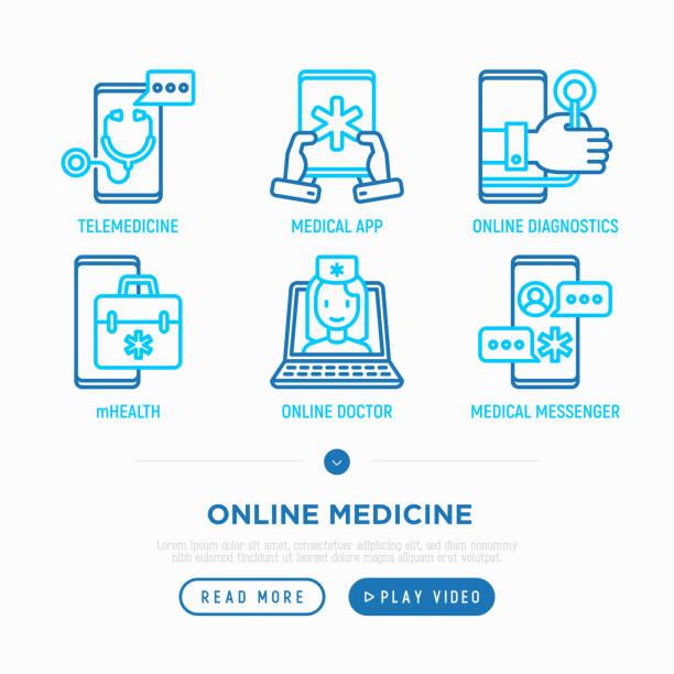 ilustraciones, imágenes clip art, dibujos animados e iconos de stock de medicina online, configurar los iconos de línea fina de telemedicina: tracker online, ambulancia, mhealth, mensajero, revise los síntomas. ilustración de vector moderno. - telehealth