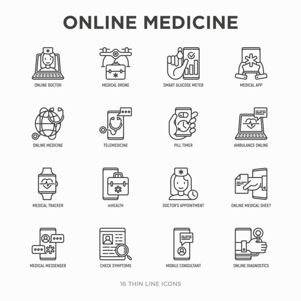 ilustraciones, imágenes clip art, dibujos animados e iconos de stock de medicina online, configurar los iconos de línea fina de telemedicina: píldora temporizador zumbido en línea, médico de ambulancia, médico tracker, mhealth, messenger, revisar síntomas, consultor móvil. ilustración de vector moderno. - telehealth