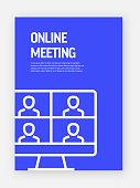 Online Meeting Concept Template Layout Design. Modern Brochure, Book Cover, Flyer Design Template