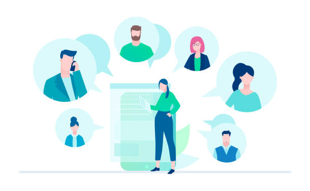 Online meeting - flat design style illustration Online meeting - flat design style illustration on white background. A young female worker with a smartphone chatting with her colleagues, partners. Perfect for your website and mobile apps colleague stock illustrations