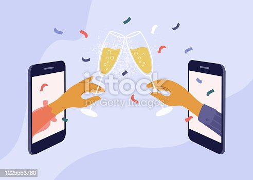 istock Online meeting friends and celebration birthday or holiday event 1225553760