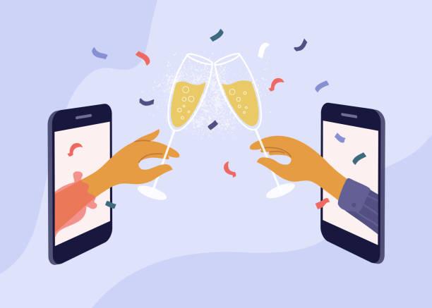 ilustrações, clipart, desenhos animados e ícones de encontro online com amigos e celebração de aniversário ou evento de feriado - brinde