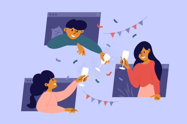 Online meeting friends, celebration birthday, drinking wine through computer windows – artystyczna grafika wektorowa