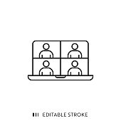 istock Online Meeting Icon with Editable Stroke and Pixel Perfect. 1224443665