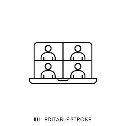 Online Meeting Icon with Editable Stroke and Pixel Perfect.