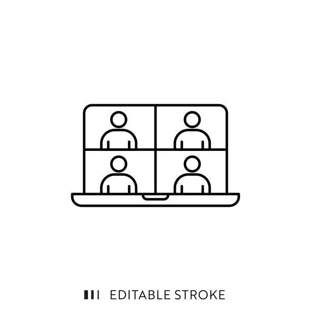 online-meeting-symbol mit bearbeitbarem strich und pixel perfekt. - meeting stock-grafiken, -clipart, -cartoons und -symbole