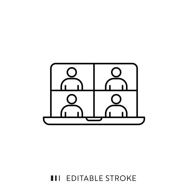 illustrations, cliparts, dessins animés et icônes de icône de réunion en ligne avec course modifiable et pixel perfect. - visioconférence