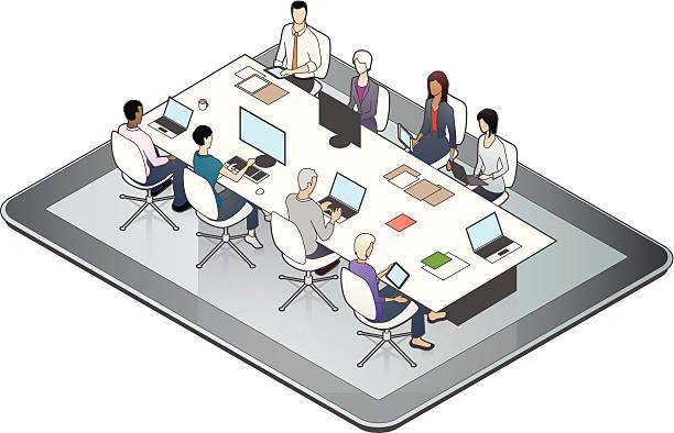 Online Meeting Illustration vector art illustration