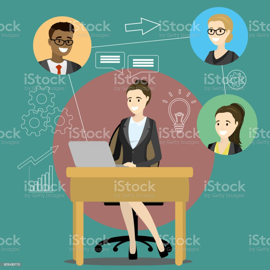 Online meeting or discussion using web applications vector art illustration