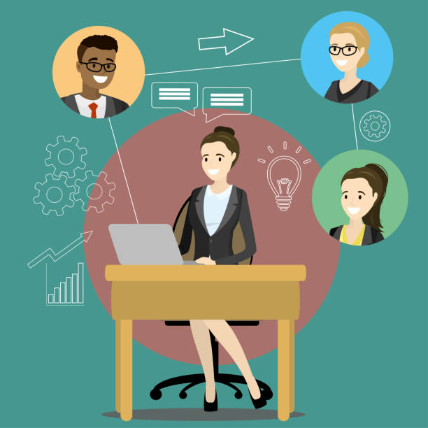 online meeting or discussion using web applications - telecommuting stock illustrations, clip art, cartoons, & icons