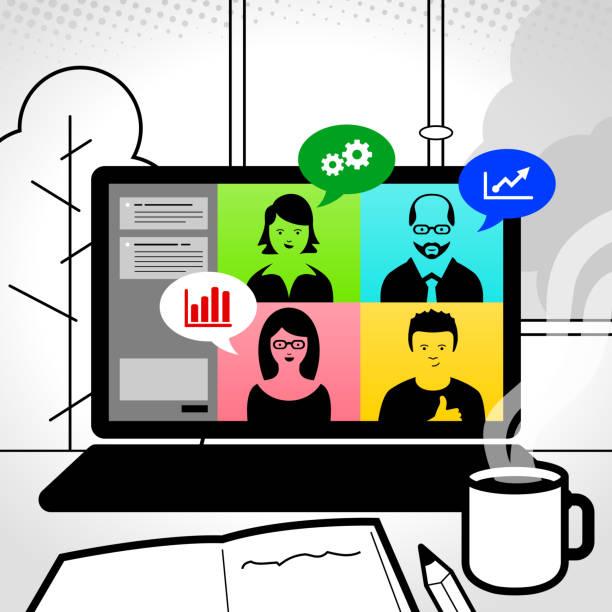 stockillustraties, clipart, cartoons en iconen met online vergadering - wat