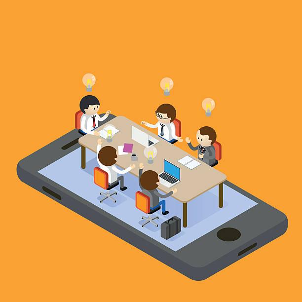 illustrazioni stock, clip art, cartoni animati e icone di tendenza di meeting online - business meeting, table view from above