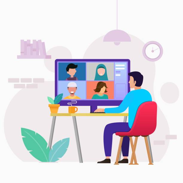 online-meeting-arbeit formular home design konzept videokonferenz - abgeschiedenheit stock-grafiken, -clipart, -cartoons und -symbole