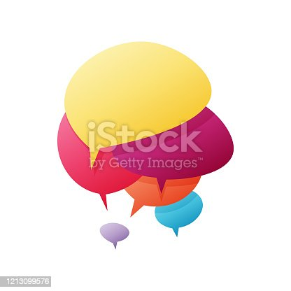 istock Online messaging speech and thought bubbles 1213099576