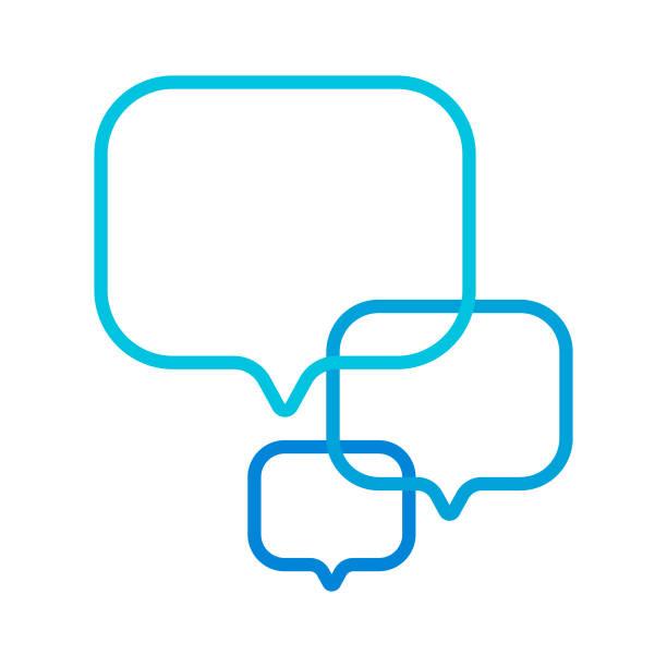 ilustrações, clipart, desenhos animados e ícones de projeto em linha do ícone da bolha do discurso da mensagem - social media