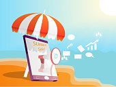 online advertising mobile app on spring and summer season,business mobile on beach and sea with umbrella above it,marketing smartphone to successful,vector art and illustration,summer sale concept.