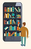 Online mobile library creative modern design web isometric concept.