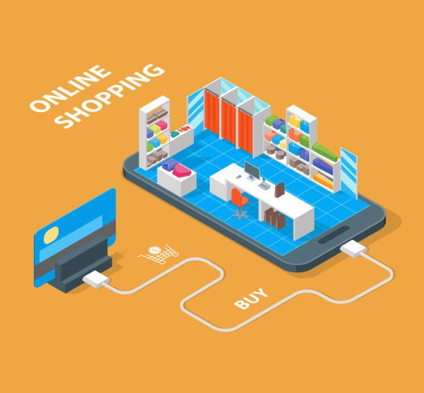 online-mobile shopping konzept 3d isometrische ansicht. vektor - stoffmarkt stock-grafiken, -clipart, -cartoons und -symbole