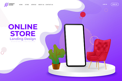 Online Mobile Store Landing Page Vector Template Design