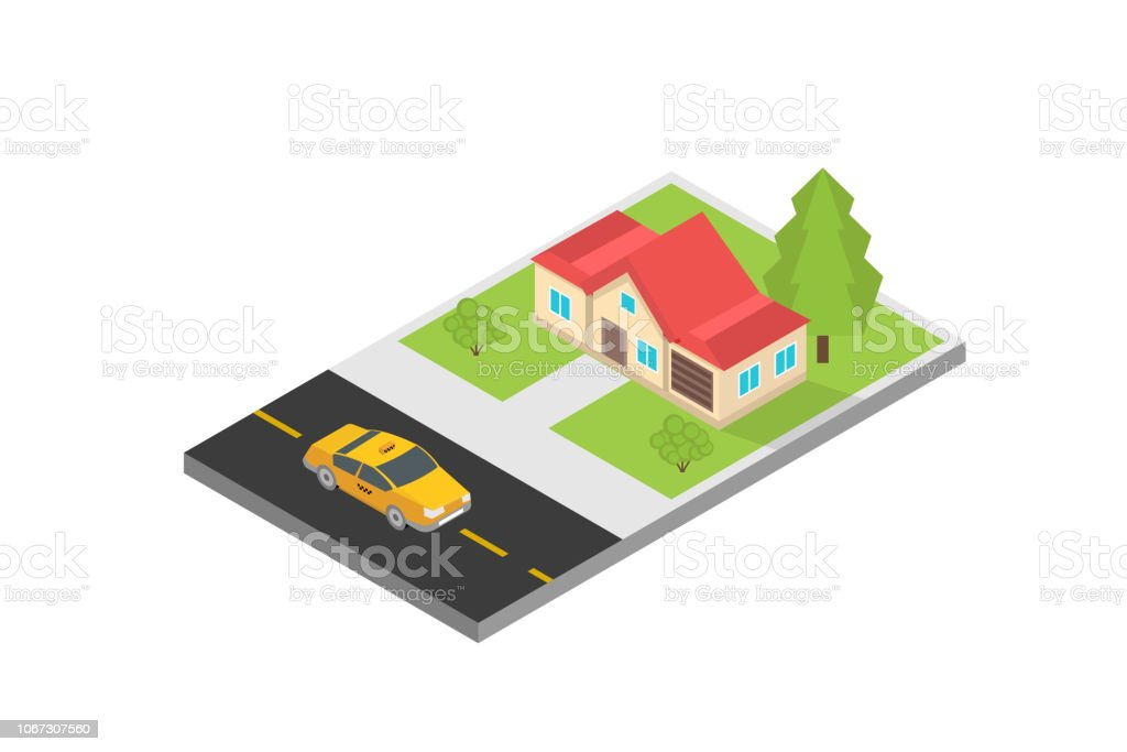 Online Mobile Taxi App Isometric Concept Gps Route Point And