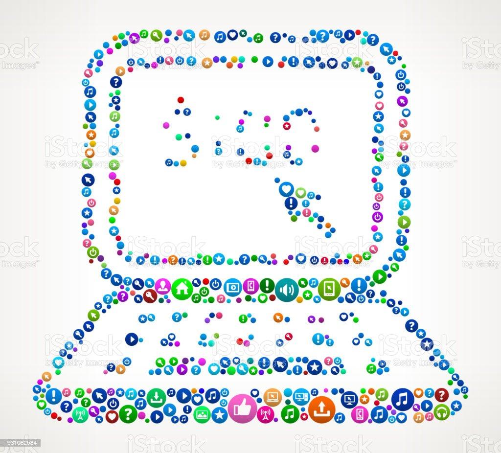 Online Money Internet Communication Technology Icon Pattern vector art illustration