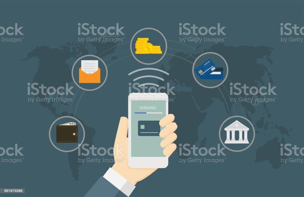 Online Money Transaction Concept vector art illustration