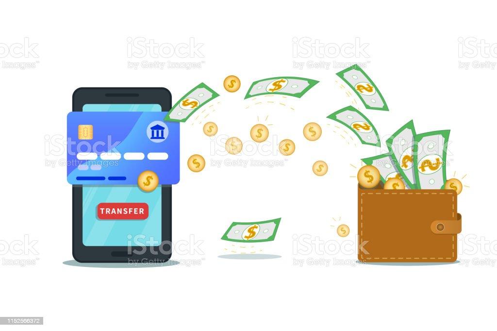 Online Money Transfer App Banking Concept Flat Smartphone