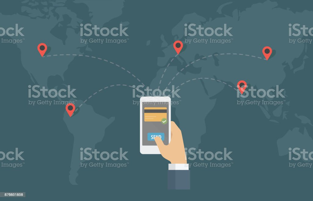 Online Money Transfer Around The World vector art illustration