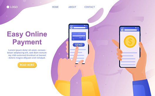 Online money transfer from a smartphone to a bank account Friendly banking technology Credit card in a mobile phone Secure electronic transfers Suitable for landing web or printing Vector Illustration