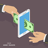 Online money transfer isometric vector illustration.