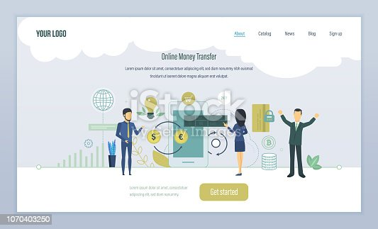 Online money transfer, financial security, protection of transactions, currency converter, mobile banking, safekeeping deposit funds, online banking. Landing page template. Vector illustration.