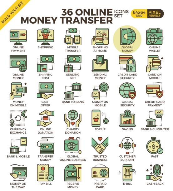 Online money transfer vector art illustration