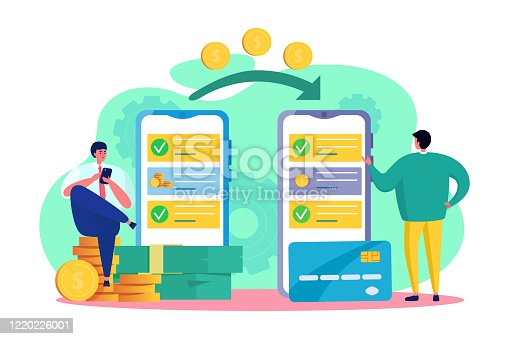 Online money transfer vector illustration. Cartoon flat tiny friend man character transferring, send out transaction coin of electronic wallet, using app smartphone. Internet banking isolated on white