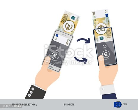 istock Online money transfer with two hands holding smart phones. 200 Euro banknote with gold coins. Flat style vector illustration. 1267121644