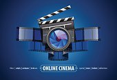 Online movie theater cinema art concept. Creative icon design with clapper. Film tape and glass lens. Vector illustration