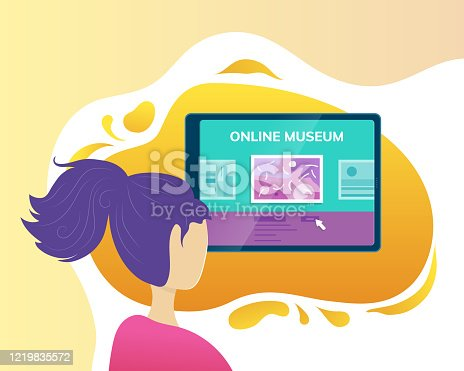 Online museum application. Woman visiting art exhibition with tablet computer at home. Virtual museum and art gallery interactive tour vector illustration. Online education and entertainment.