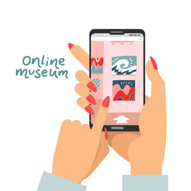 online-museumskonzept als weibliche hände halten smartphone und besuch interaktive kunstmuseum ausstellung in app auf gerät, kunstgalerie guide, digitale ausstellung, multimedia-service für zu hause bleiben - smartphone mit corona app stock-grafiken, -clipart, -cartoons und -symbole