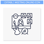 Online music concert line icon. Meeting together concept. Internet streaming website. Live stream.Social distanced party. Remote public event, jam session. Isolated vector illustration.Editable stroke