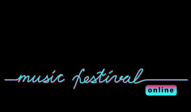 online music festival concert black web banner, background with tiktok colors. - tiktok stock illustrations