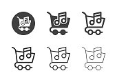 Online Music Market Icons Multi Series Vector EPS File.