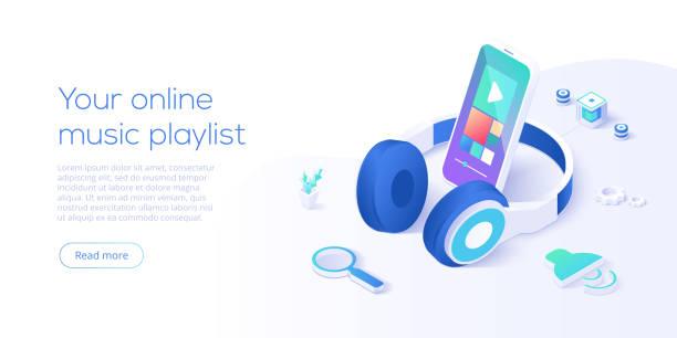 アイソメベクトルイラストのオンライン音楽プレイリストの概念。mp3を再生するスマートフォンストリーミングオーディオプレーヤーアプリとヘッドフォン。ウェブサイトやソーシャルメデ� - ゲーム ヘッドフォン点のイラスト素材/クリップアート素材/マンガ素材/アイコン素材