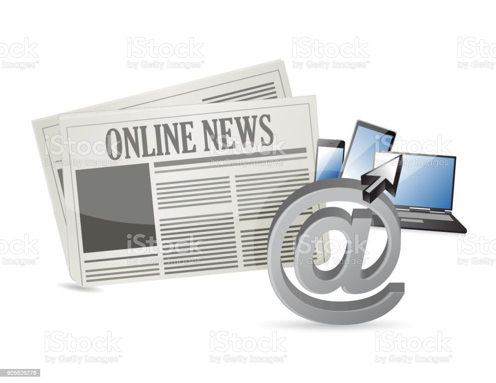 online news and electronic tools illustration design over a white background vector art illustration