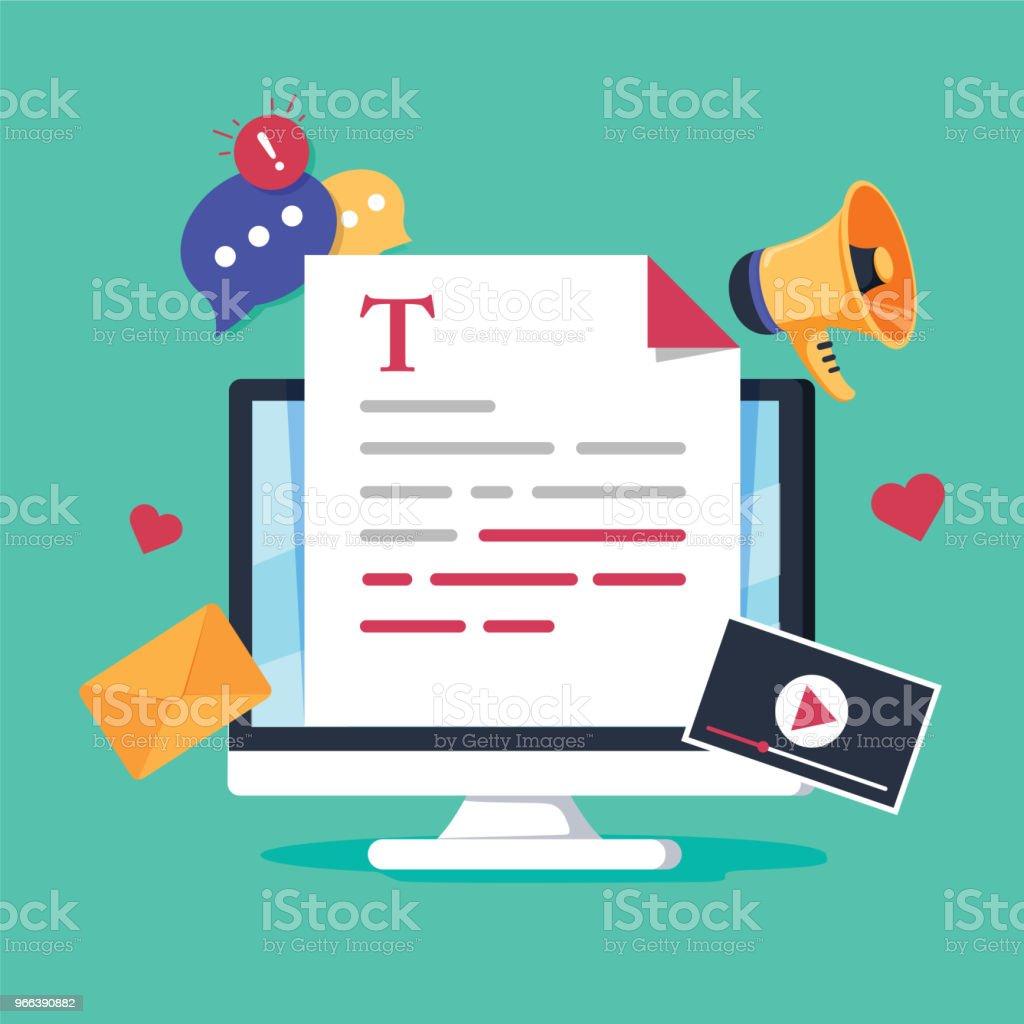 Online news, blog post or newspaper on news website flat vector illustration. News update digital content, blogging and vlog vector art illustration